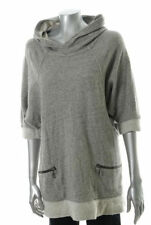 New FAMOUS CATALOG Moda Cotton Gray Long Sleeves Hoodie Top Misses Sz M