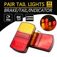 2x 12 LED 12V Trailer Rear Stop Brake Lights Stop Tail Indicator Truck