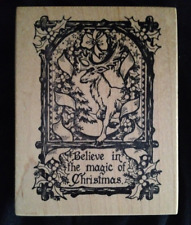 Psx K-1034 'Believe in the Magic of Christmas' Large Craft Stamp Mounted on Wood