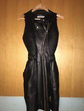Preen Black Biker Style Leather Dress Size M