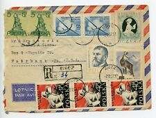 Poland 1957 registered cover Biecz to USA (U152)