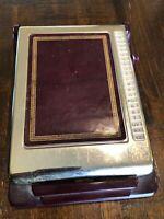 Vintage Bates Listfinder Cavalier Model Brown Metal Desk Top Address Phone Book