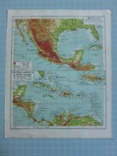1933 MAP MEXICO GUATEMALA ~ CENTRAL AMERICA & WEST INDIES BAHAMAS JAMAICA