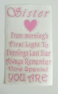 Sister Vinyl Quote DIY gift Craft sticker Box Frame Bottle candle special sis