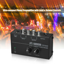 """Ultra-compact Phono Preamplifier Preamp Level &Volume Controls RCA 1/4"""" TRS T6O1"""