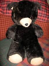 "Vintage 1970's Large Plush 28"" Black Teddy Bear – Amber Eyes - WONDERFUL!!"