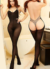 Black Halter Backless Lingerie  Bodystocking with Leopard Print Trim S 6-12