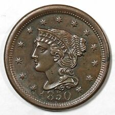 1850 N-15 Braided Hair Large Cent Coin 1c Ex; Jules Reiver