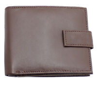 Mens Soft Real Leather Compact Small Wallet Purse With Zip Coin Pocket 421 BROWN