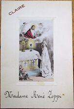 Menu: French 1939 Communion, Wine-Chambertin 1923/St Emilion 1929/Meursault 1929