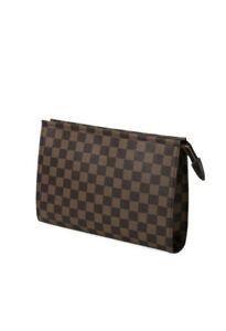 Brown Checkered Zip Make-up Bag