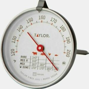 """TAYLOR Meat Thermometer Cooking 120 - 200 F 2-3/4"""" Dial Dishwasher Safe 5939N"""