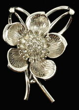 VINTAGE PENNINO SILVER TONE MARQUISE & ROUND RHINESTONE FLOWER PIN LOOKS REAL 2""
