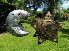Pair of Hanging  Metal Tea light Candle Holders Garden Lanterns - Sun & Moon