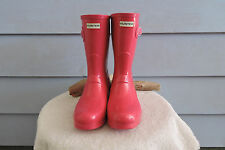 Women's Short Hunter Rain Boots Hot Pink Gloss Size 9