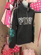 Victorias Secret Pink Gray Palm Tree Quarter Zip Sweater Small NWT Rare