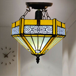 Tiffany Yellow Hexagon Ceiling Lamp 10 inch Stained Glass Shade Antique Style