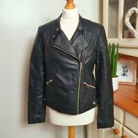 F&F (UK Size 12) Black Faux Leather Biker Jacket Coat with Gold Coloured Zip