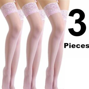 3 Lace Top Stocking Socks Women Tights Nylon Up Pantyhose Sheer Hold Lingerie