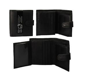 Black Soft Leather RIFD Wallet ID Window Coin Pocket Tri fold 6 Card holder Slot