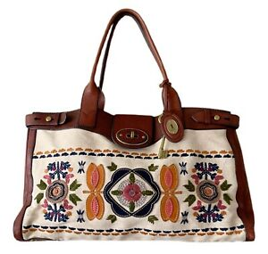 FOSSIL Vintage Reissue Weekender Embroidered Floral appliqué RARE tote Bag