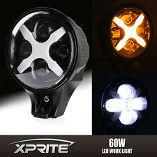 """Xprite 6"""" 60W Round LED Spot Light with 10W Amber X DRL Turn Signal Offroad Jeep"""