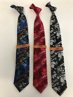 New Men's Steven Land Neck Tie Floral Print Micro Silk Black,Red Blue MS18