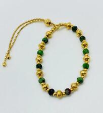 Bellezza 18K Yellow Gold On Ruby Zoisite Bronze Beaded Adjustable Bracelet HSN