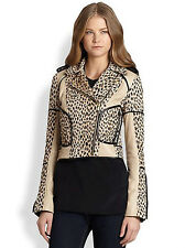 $765 Diane Von Furstenberg Theodora Leather-Trimmed Leopard Motorcycle Jacket 4
