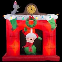 CHRISTMAS SANTA ANIMATED CHIMNEY FIREPLACE AIRBLOWN INFLATABLE YARD DECOR 5.5 FT