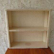 Vintage 2 Tier Woven Bathroom Shelf Wicker Bamboo White Wall Mount MCM