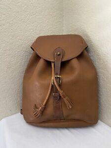 Vintage Dooney & Bourke Sherpa Teton Big Trail  British Tan Leather Backpack Bag