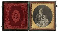 Sixth Plate Daguerreotype Mother Toddler Photo Case Woman 6th Case Gilt Child