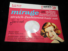 Vtg Jac-O-Net Hair Nets - Bob Size - For Grey or White Hair - 2 Nets Per Package