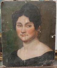 Tableau Ancien Huile Portrait de Femme Bijoux XIXe c.1830 à restaurer