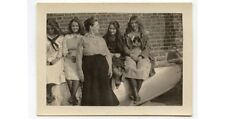 GERTRUDE HALLETT WITH GIRLS + FRIENDS AT BOAT HOUSE VINTAGE PHOTO
