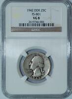 1942 FS-801 DDR NGC VG8 Washington Quarter Doubled Die Reverse