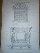 Gravure 19° croquis d'architecture grande taille Chartreuse Pavie Venise Italie