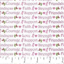 Northcott Sweet Jane Shabby Rose Pink Ribbon Quilt Hope Love Faith Fabric 6B