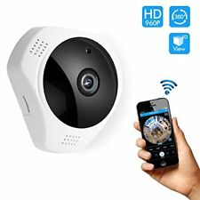 360 Fisheye wifi camera night vision webcam 2-way audio security motion detector