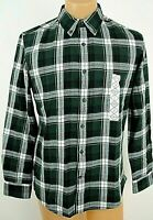 St Johns Bay Green Flannel Shirt Slim fit Size Small Plaid Button Pocket NEW NWT