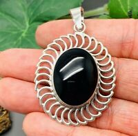Black Onyx Pendant Fine 950 Sterling Solid Mexican Silver From Taxco Mexico!