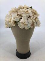 Vintage Handmade Knit Hat Flower Rosettes White Net 20's 30's 40's Flapper
