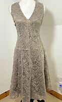 Next Size 8 Brown Lace Fit & Flare Dress Short-Sleeves Cotton Blend Layered