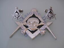 New3D Masonic Master Mason Skull Car Emblem, &  Cufflinks (Silver) EMGD