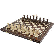 Vintage Wooden Chess Game Hand Carved Board Pieces Large 21 Inch Set