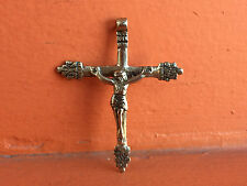 GENUINE SPANISH COLONIAL HOLY CROSS CRUCIFIX SILVER-ALPACCA OLD