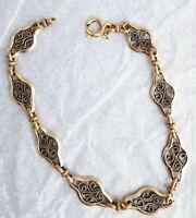 bracelet ancien plaqué or maillons déco Filigrane  homme ou femme   BR167