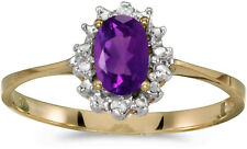 10k Yellow Gold Oval Amethyst And Diamond Ring (CM-RM1342-02)