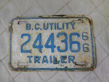 BC British Columbia Utility Trailer License Plate Vintage 1966 Blue White